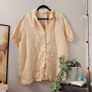 Vintage Yellow Pastel Linen Button Down Tee